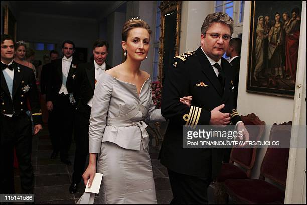 Royals arriving at the dinner offered to Prince Frederik and Mary Donaldson for their wedding in Copenhagen, Denmark on May 14, 2004 - Prince Laurent...