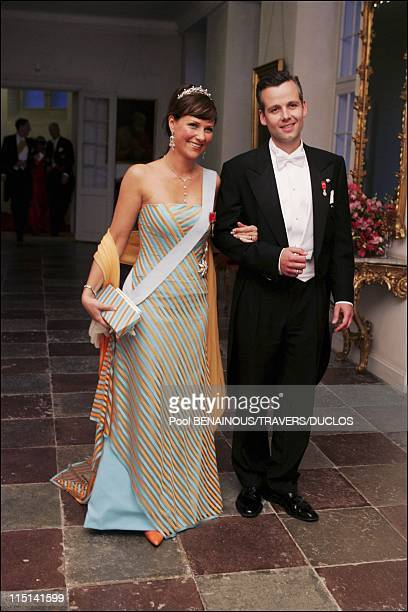 Royals arriving at the dinner offered to Prince Frederik and Mary Donaldson for their wedding in Copenhagen Denmark on May 14 2004 Princess Martha...