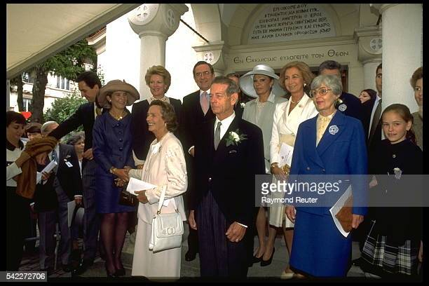 Royals at the wedding of Princess Margareta of Romania to Radu Duda in Lausanne Switzerland 21st September 1996 From left to right Don Jaime de...