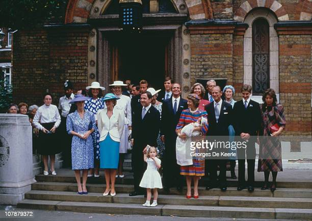 Royals attend the christening of Prince Philippos of Greece in London, 10th July 1986. Present are the baby's parents, King Constantine and Queen...
