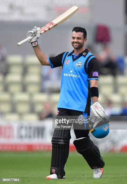 Royals batsman Callum Ferguson reaches his century during the Royal London One Day Cup match between Worcestershire and Leicestershire at New Road on...
