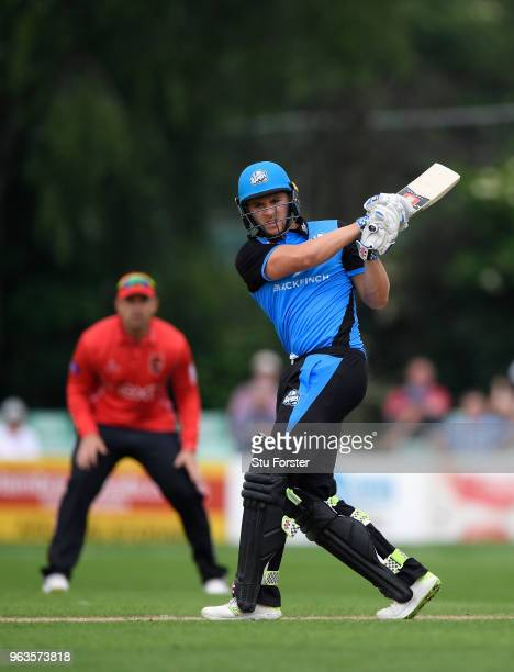 Royals batsman Joe Clarke hits out during the Royal London One Day Cup match between Worcestershire and Leicestershire at New Road on May 29 2018 in...