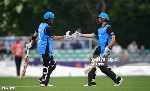 Royals batsmen Callum Ferguson and Joe Clarke congratulate each other on their century partnership during the Royal London One Day Cup match between...