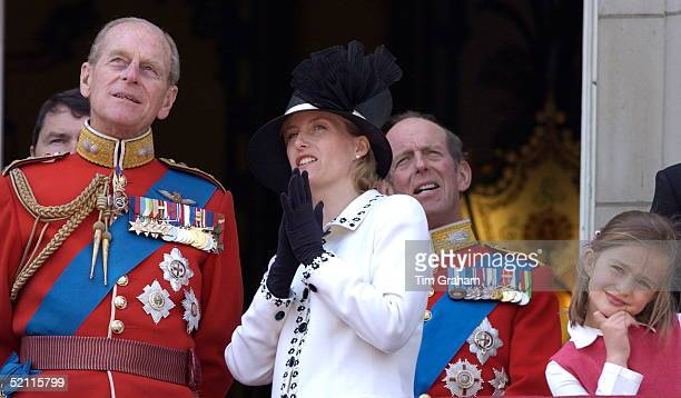 Royals Gather On The Balcony Of Buckingham Palace After Trooping The Colour. The Countess Of Wessex Talks With Her Father-in-law, Prince Philip....