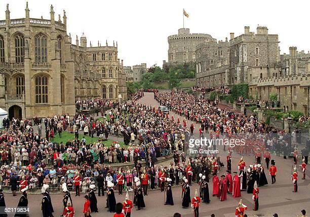 Royals In Garter Procession At Windsor Castle