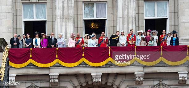 Royals on the balcony during Trooping the Colour Queen Elizabeth II's Birthday Parade at The Royal Horseguards on June 14 2014 in London England