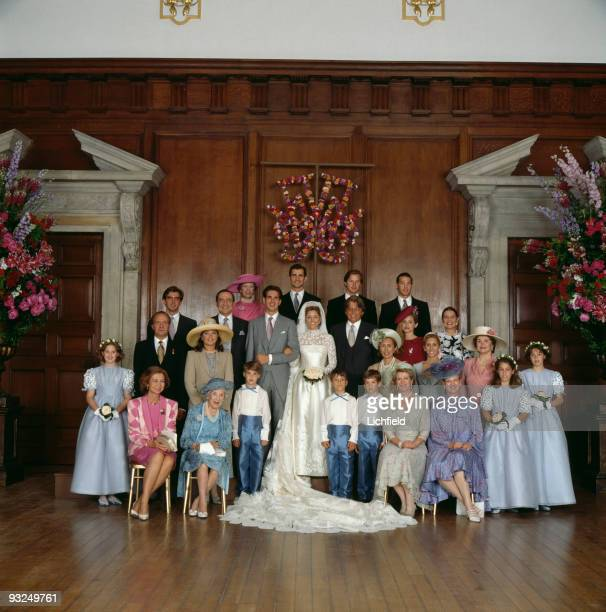 Royals pose at Hampton Court Palace after the wedding of Crown Prince Pavlos of the Hellenes and Marie-Chantal Miller, 1st July 1995. Front row are...