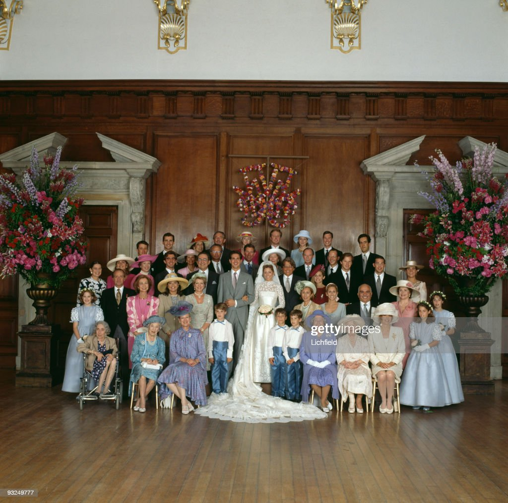 Royals pose at Hampton Court Palace after the wedding of Crown Prince Pavlos of the Hellenes and Marie-Chantal Miller, 1st July 1995. On the left side are: from left to right (seated), Princess Katherine Lady Brandram, Queen Mother Ingrid and Queen Margrethe of Denmark. First row: Princess Theodora of Greece, King Juan Carlos and Queen Sofia of Spain, Princess Alexia and Queen Anne-Marie and Prince Philippos of Greece. Second row: Princess Irene of Greece, Infanta Cristina of Spain, Princess Benedikte of Denmark, Prince Nikolaos and King Constantine of Greece. Third row: Prince Frederik of Denmark, Prince Felipe of Spain, Queen Silvia and King Carl Gustav of Sweden, Prince Charles. Back row: Princess and Prince Michael of Greece and Princess Nathalie zu Sayn Wittgenstein-Berleberg. Left side (seated, front row) the Queen, Queen Mother and Queen Noor of Jordan. Front row: pageboys Sebastian Flick and Anthony Chandris, Mrs Robert Miller, Alexandra Miller, King Hussein of Jorgan, June Wilbur and bridesmaids Marietta Chandris and Alexandra Knatchbull. Second row: Robert Miller, Pia Getty, Christopher Getty, Prince Alexander von Furstenberg, Infanta Elena of Spain. Third row: Grand Duchess Josephine-Charlotte and Grand Duke Jean of Luxembourg, Crown Prince Kardam of Bulgaria and the Duke of Lugo. Back row: Prince Gustav and Princess Alexandra zu Sayn Wittgenstein-Berleberg and Prince Guillaume of Luxembourg. In the centre are the bride and groom.