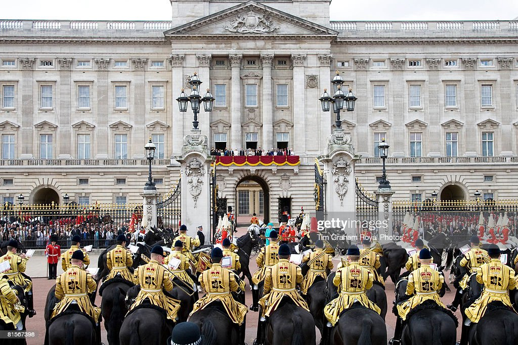 Royals stand on the balcony of Buckingham Palace as soldiers march past Queen Elizabeth II for Trooping The Colour celebrations on June 14, 2008 in London, England. The ceremony is Queen Elizabeth II's annual birthday parade and dates back to the time of Charles II in the 17th Century when the Colours of a regiment were used as a rallying point in battle.