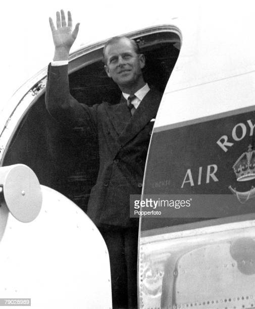 Royalty 15th October 1956 The Duke of Edinburgh Prince Philip pictured making a final wave from the door of his aircraft at a London airport This was...