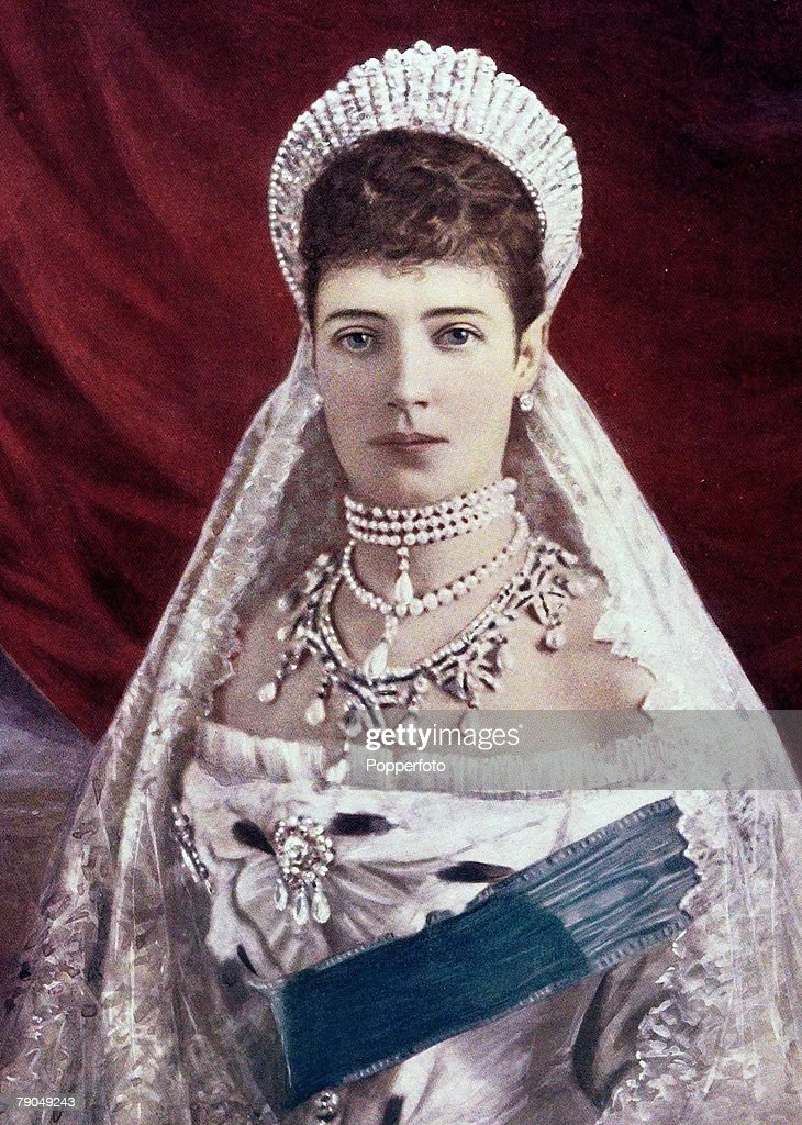 Royalty. 19th Century. A portrait of her Imperial Majesty Maria Sophia Frederica Dagmar (afterwards changed to Marie Feodorovna) the Dowager Empress of Russia. : News Photo