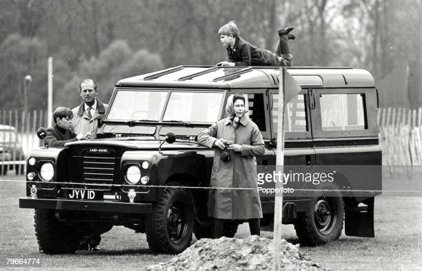 Royalty 20th April 1972 A picture of Prince Edward on the roof of the Royal car watching the Windsor horse trials with L/R Prince Andrew Duke of...