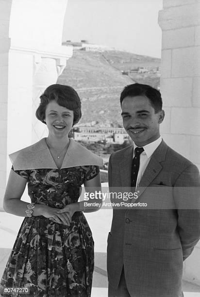 Royalty Amman Jordan June 1961 King Hussein of Jordan with his wife Princess Muna alHussein on their honeymoon at Basman Palace