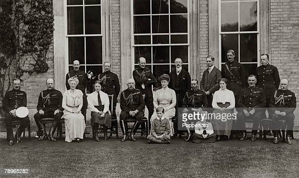September 1913 AlthorpNorthamptonshire England King George V and Queen Mary the Duke of Connaught Prince Arthur of Connaught and the Earl and...