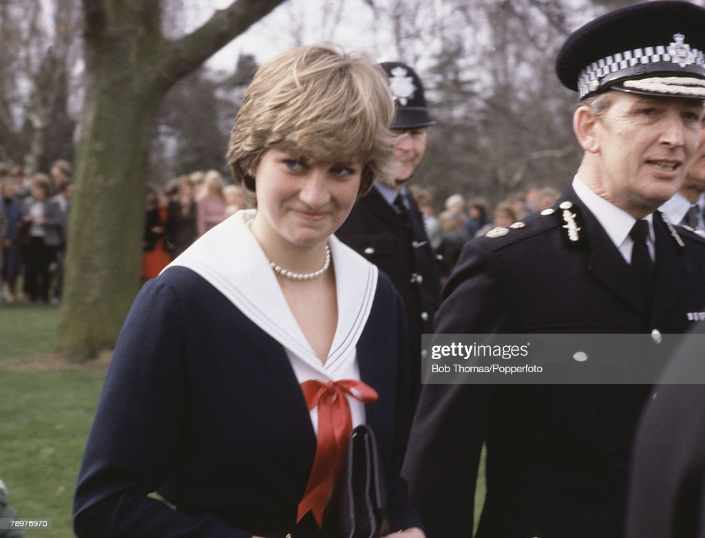 Royalty. Cheltenham, England. 27th March 1981. Lady Diana Spencer on a visit to the Headquarters of the Gloucestershire Police force. : News Photo