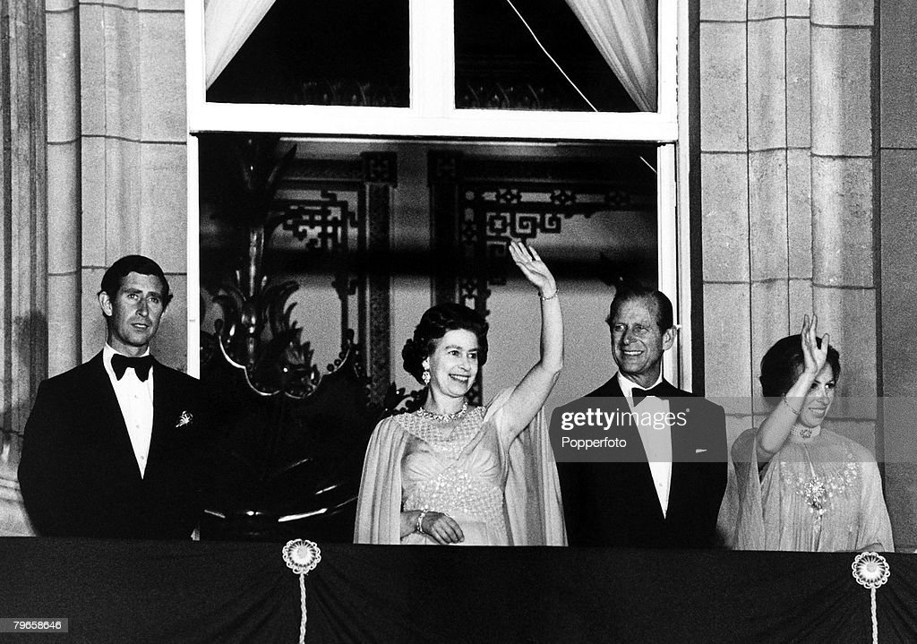 Royalty, England, 2nd June 1978, HRH Queen Elizabeth II and Princess Anne wave from the balcony of Buckingham Palace on the occasion of the 25th anniversary of the coronation of HRH Queen Elizabeth, Prince Charles and Prince Phillip stand with them : News Photo
