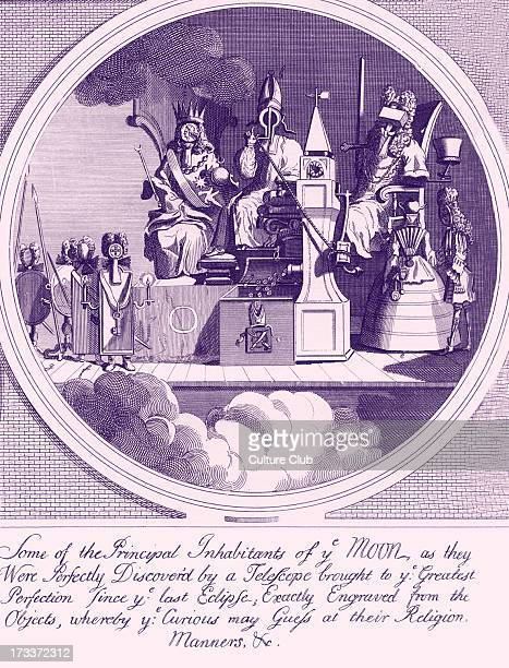 Royalty Episcopacy and Law by W Hogarth 1724 Caption reads Some of the Principal Inhabitants of ye Moon as they Were Perfectly Discover'd by a...