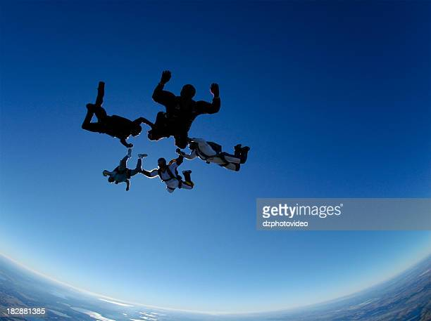 Royalty Free Stock Photo: Five Skydivers in a Freefall Formation