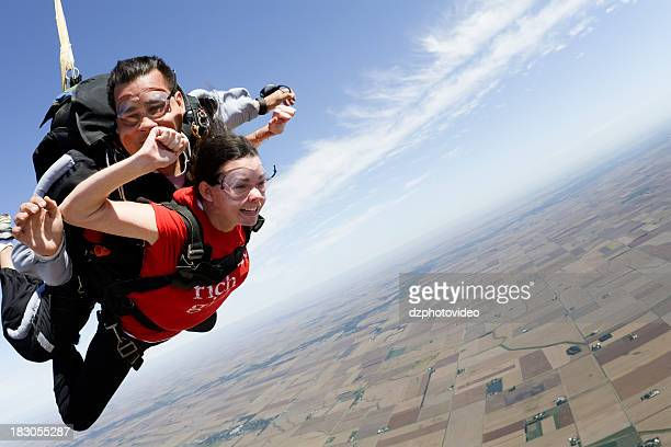 Royalty Free Stock Photo: Tandem Skydivers