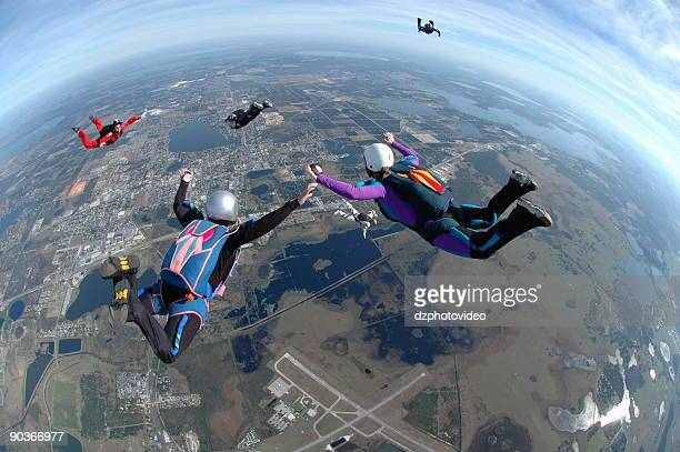 Royalty Free Stock Photo:  Women Skydiving - Flying High