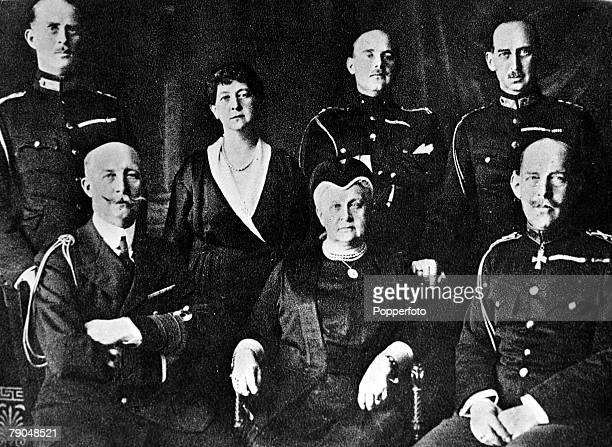 Circa 1920's, The Greek Royal family, back, left-right, Prince Andreas, father of the Duke of Edinburgh, Princess Marie, Prince Christoph and Prince...