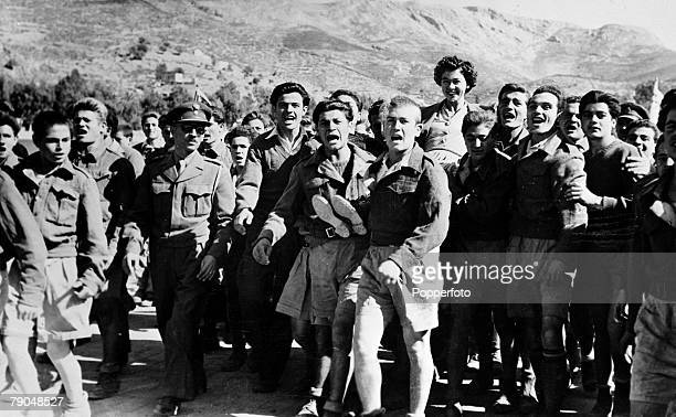 Circa 1940's, Queen Friederika, born 1917, carried on the shoulders of former soldiers in a triumphal march, Queen Friederika of German descent...