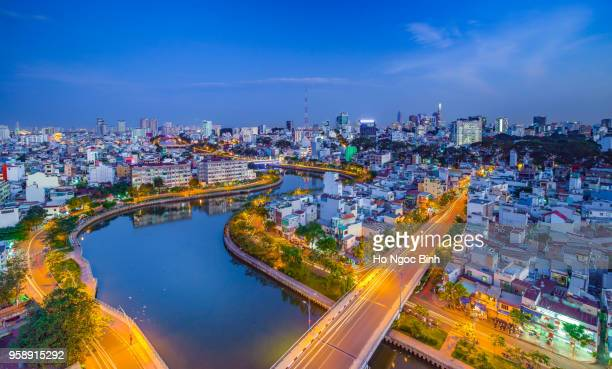 Royalty high quality free stock image aerial view of Ho Chi Minh city, Vietnam. Beauty skyscrapers along river light smooth down urban development in Ho Chi Minh City, Vietnam.