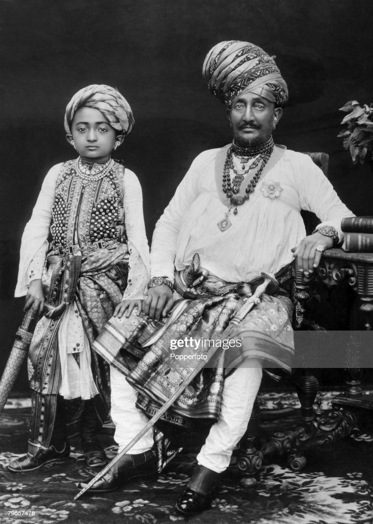 Royalty, India, Circa 1890's, Maharaja Jam Sahib Vibhaji ( died 1895) and his successor Jam Sahib Jashwantsinhji Vibhaji ( died 1905) : News Photo
