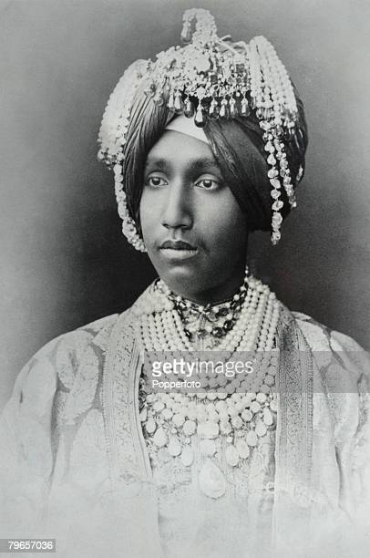 Royalty India Circa 1900's An Indian Maharajah who is reputed to have the worlds finish diamonds rupies and pearls The jewels he is wearing are...