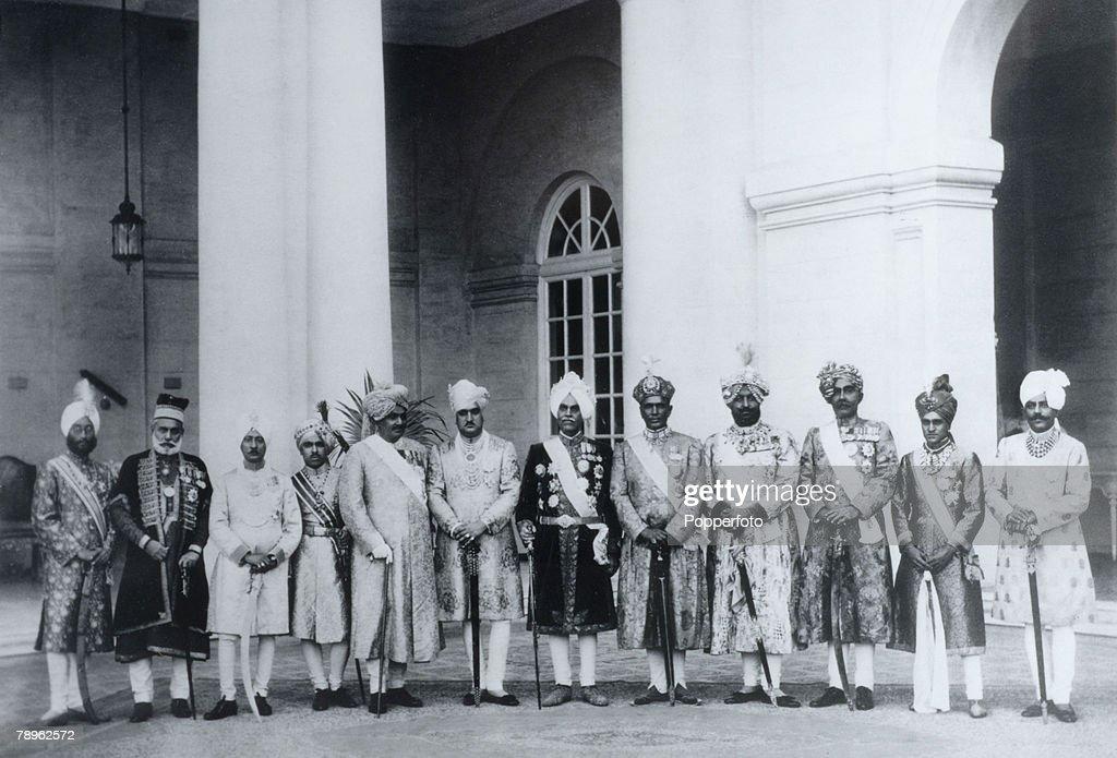 Royalty. India. Circa 1920's. A photograph taken at the Silver Jubilee of Maharaja Jagatjit Singh of Kapurthala. From the left, the rulers of Kalsia, Loharu, Mandi, Nawanagar, Jammu and Kashmir, Kapurthala, Alwar, Patiala, Bikaner, Bharatpur and Palanpur. : News Photo