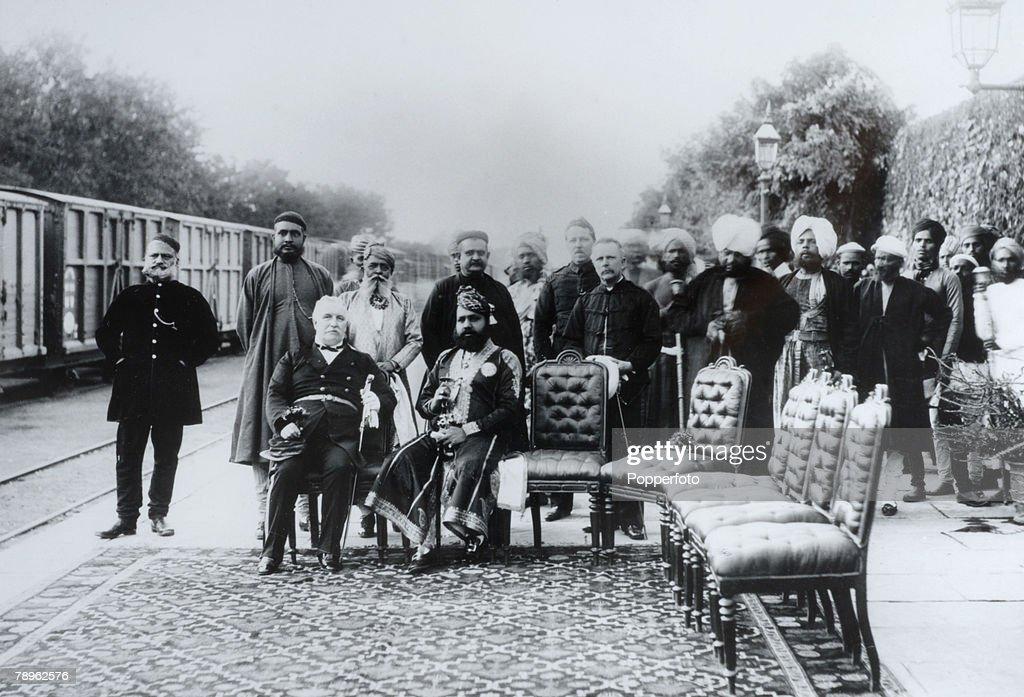 Royalty. Jaipur, India. Circa 1900's. The Maharajah (seated) of Jaipur seen here at the railway station. : News Photo