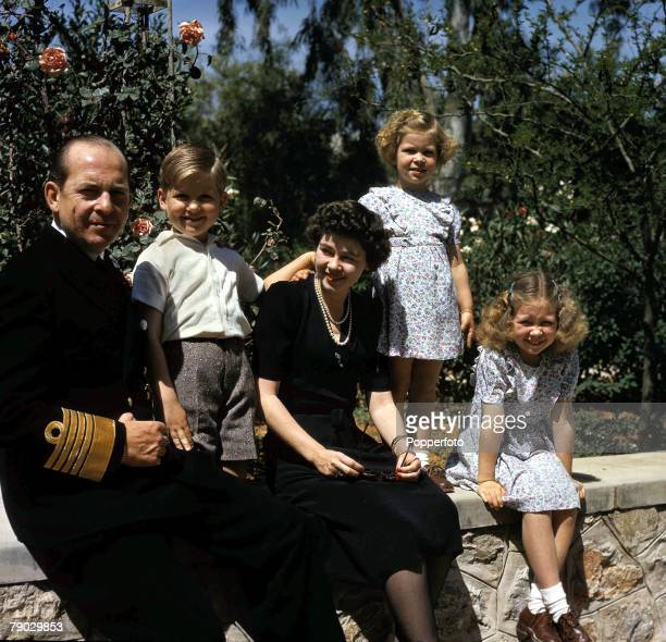 Royalty King Paul and Queen Frederika of Greece with their three children Crown Prince Constantine aged 6 Princess Sophia aged 8 and Princess Irene...