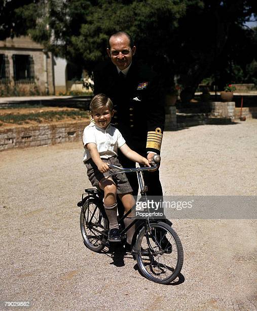 Royalty, King Paul of Greece with his son Prince Constantine, 1947