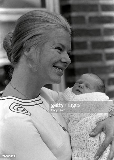 Royalty London England 31st July 1970 HRH The Duchess of Kent leaves a London hospital with her new born baby son Nicholas Windsor who was born on...