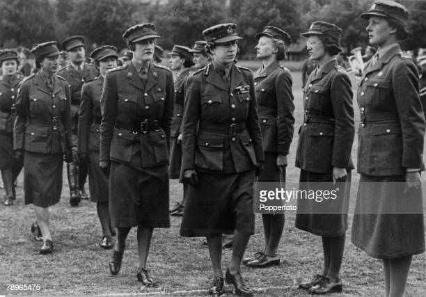 Royalty Military Northampton Northamptonshire England pic circa 1942 Princess Mary the Princess Royal inspecting members of the Women's Auxiliary...