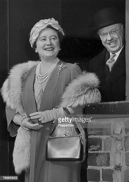 Royalty Northampton Northamptonshire England pic October 1956 HM Queen Elizabeth the Queen Mother arrives at Castle Station Northampton accompanied...