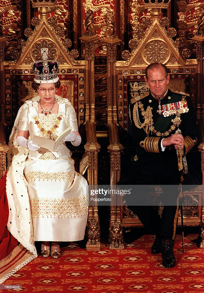 Royalty. October 1975. State Opening of Parliament. Her Majesty Queen Elizabeth II with Prince Philip, Duke of Edinburgh. : News Photo