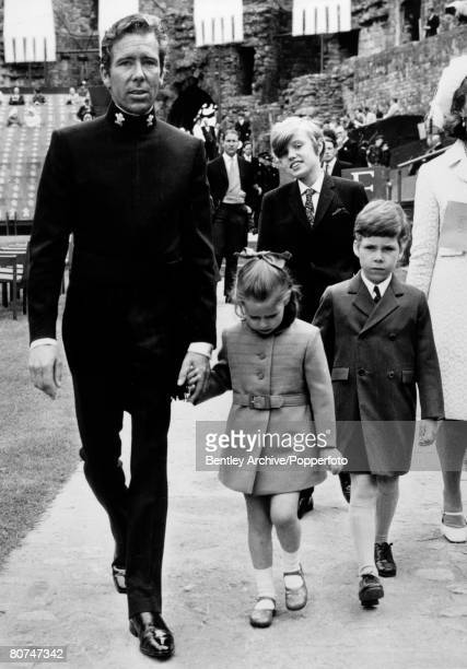 2nd July 1969 Lord Snowdon the Constable of Caernarvon Castle arrives with children Lady Sarah ArmstrongJones and Viscount Linley for the Investiture...
