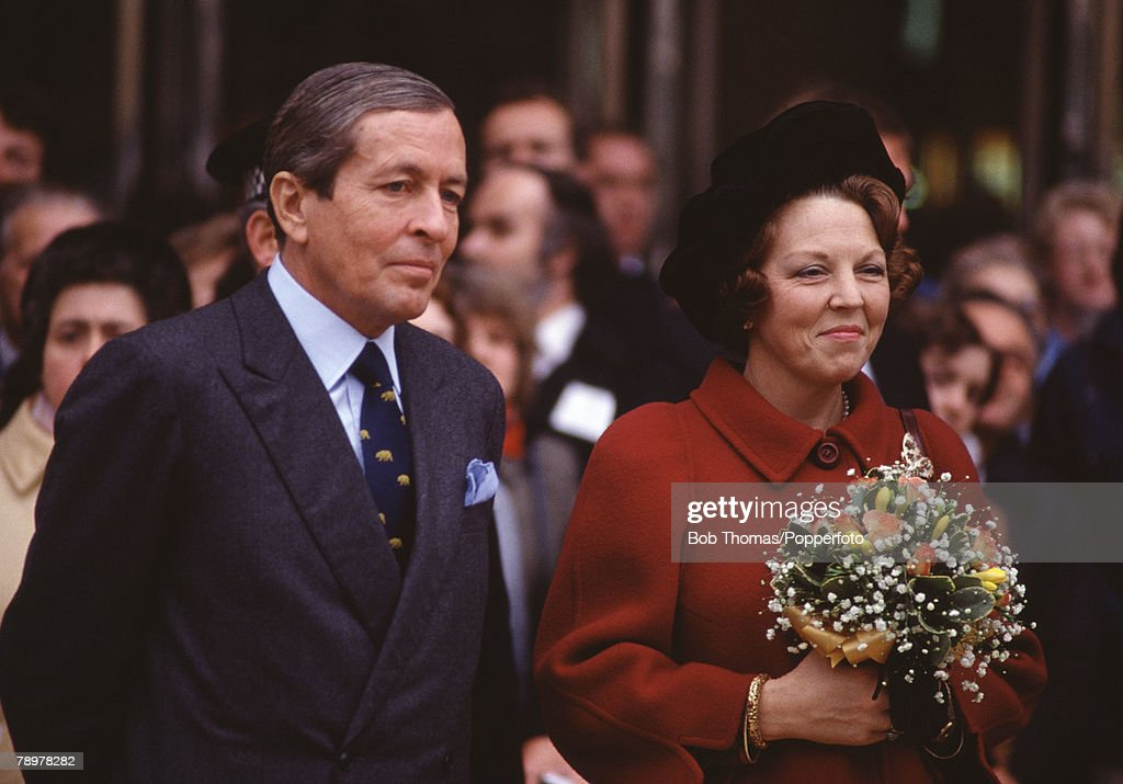 Royalty. Peterborough, England. 20th November 1982. Queen Beatrice of the Netherlands and her husband Prince Claus visiting the city during their State visit to Britain. : News Photo