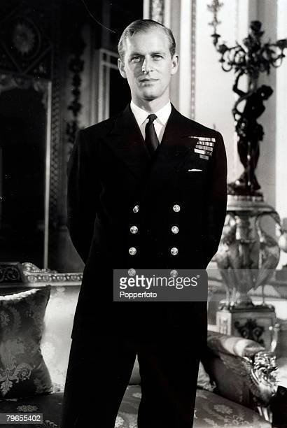 circa 1946 Prince PhilipThe Duke of Edinburgh pictured in naval uniformat Buckingham Palace after the official announcement of his engagement to...