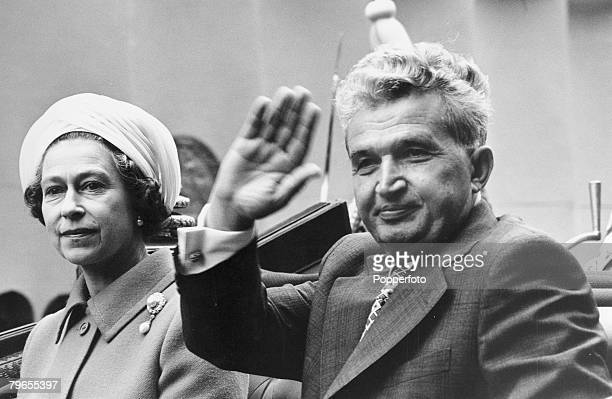 13th June 1978 London HM Queen Elizabeth pictured with Romania President Nicolae Ceaucescu who was on a state visit to Britain