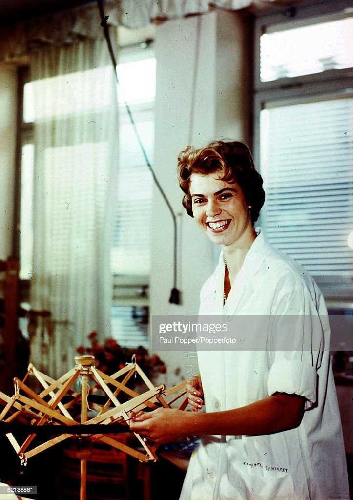 1958, Princess Margaretha of Sweden working as a therapeutian in a Stockholm hospital