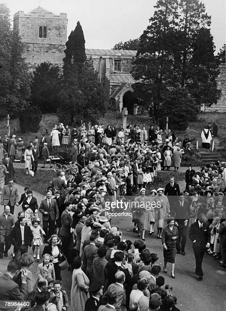 1960's HM Queen Elizabeth II with Prince Philip when attending church at Thorpe Lubenham on the Northamptonshire/Leicestershire borderas a large...