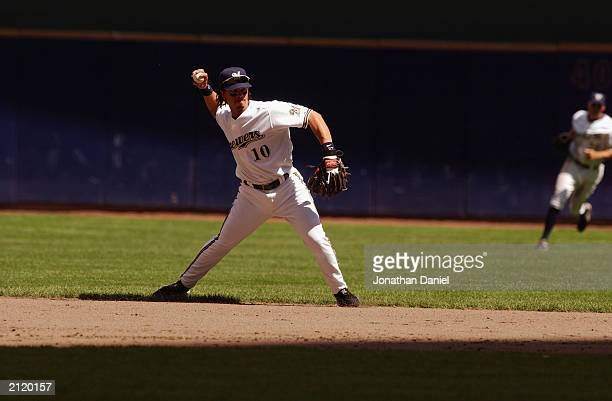 Royce Clayton of the Milwaukee Brewers pitches during the interleague game against the Minnesota Twins on June 22 2003 at Miller Park in Milwaukee...