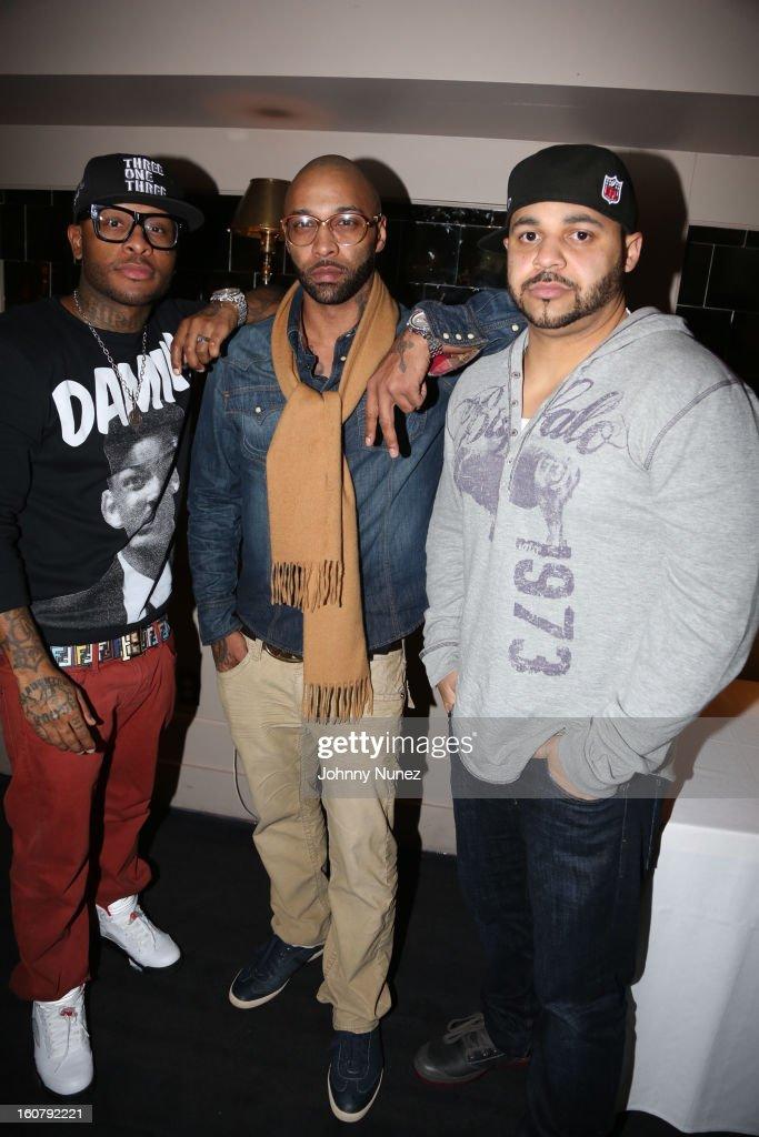 Royce da 5'9, Joe Budden and Joell Ortiz attend Joe Budden's 'No Love Lost' album release dinner at Abe & Arthur's on February 5, 2013 in New York City.