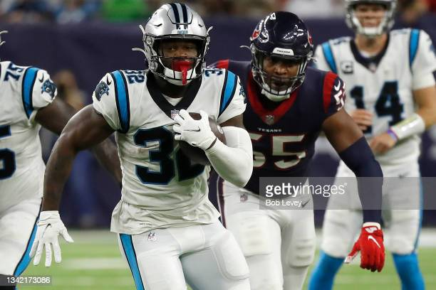 Royce Freeman of the Carolina Panthers looks for yards during a second half run against the Houston Texans at NRG Stadium on September 23, 2021 in...