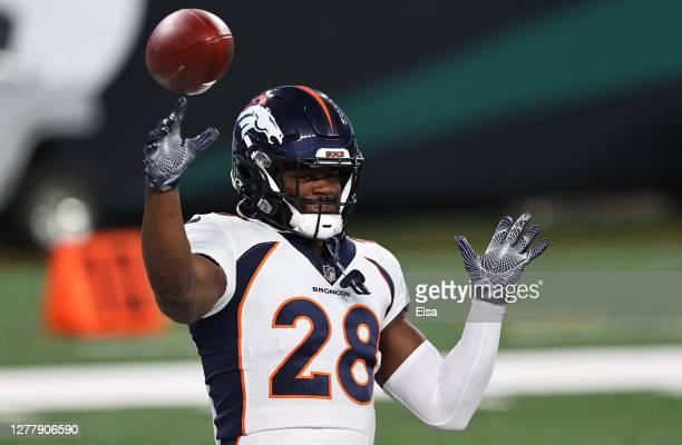 Royce Freeman of the Denver Broncos warms up against the New York Jets at MetLife Stadium on October 01, 2020 in East Rutherford, New Jersey.