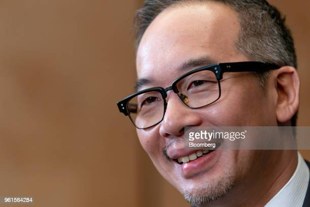 Royce Hong chief executive officer of Xing Mobility Inc speaks during a Bloomberg Television interview in Hong Kong China on Wednesday May 23 2018...
