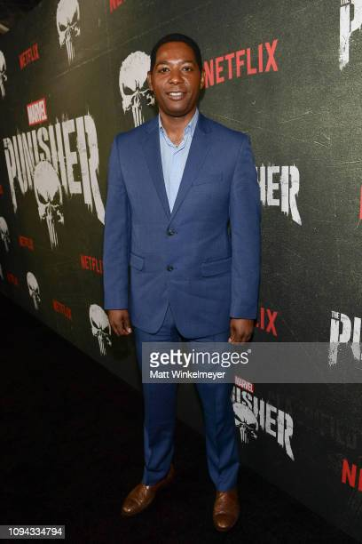 """Royce Johnson attends Marvel's """"The Punisher"""" Los Angeles Premiere at ArcLight Hollywood on January 14, 2019 in Hollywood, California."""