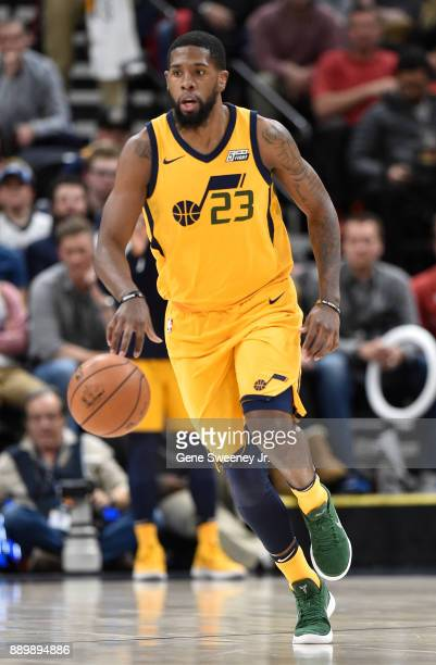 Royce O'Neale of the Utah Jazz brings the ball up court during their game against the Houston Rockets at Vivint Smart Home Arena on December 7 2017...